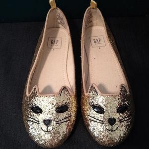 Gap Kids Sparkle Glittery Slip On Kitty Cat Shoes